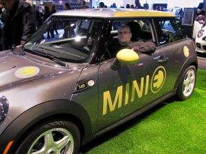 Me in the driver's seat of the Mini E